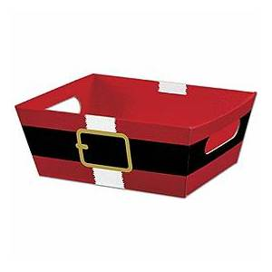 """Bags & Bows by Deluxe Santa's Belt Market Trays, 9 x 7 x 3 1/2"""""""