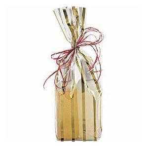 Bags & Bows by Deluxe Gold Stripes Clear Flat Bottom Propylene Bags