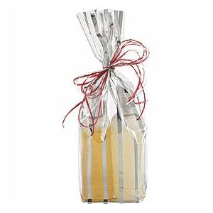 Bags & Bows by Deluxe Silver Stripes Clear Flat Bottom Propylene Bags