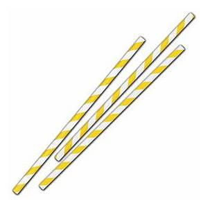 """Bags & Bows by Deluxe Yellow Stripe Jumbo Paper Straws, 7 3/4"""", Unwrapped"""