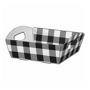Bags & Bows by Deluxe Black & White Plaid Presentation Tray Boxes, Small