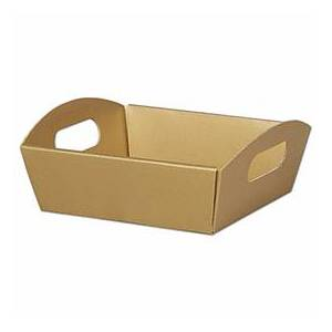 """Bags & Bows by Deluxe Metallic Gold Presentation Tray Boxes, 8 1/4x7 1/2x2 1/2"""""""