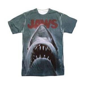 TrevCo JAWS POSTER - S/S ADULT 100% POLY CREW - WHITE T-Shirt  - Size: 3X