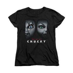 TrevCo BRIDE OF CHUCKY HAPPY COUPLE - S/S WOMENS TEE - BLACK - 2X - BLACK T-Shirt  - Size: 2X