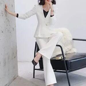 Princess V-Neck Chain Detail Blouse / Copped Boot-Cut Pants / Pencil Skirt / One Button Blazer / Set