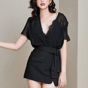 Kokuko Set: Spaghetti Strap Lace Top + Short-Sleeve Chiffon Blouse + Mini Skirt