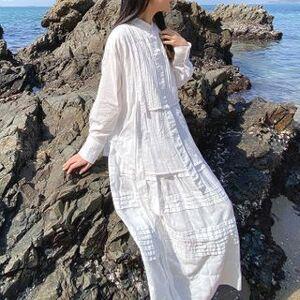Kiss Long-Sleeve Paneled Midi A-Line Dress