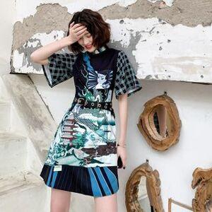 Lotus Mandarin Collar Printed Short-Sleeve Mini A-Line Dress