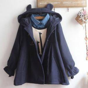akigogo Mock Two-Piece Printed Pullover / Hooded Duffle Coat / Set