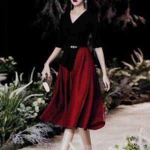 FullBloom Mock Two-Piece Elbow-Sleeve Midi A-Line Dress