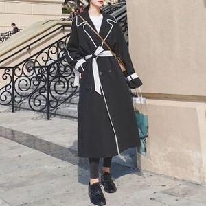 Jinyo Contrast Trim Double-Breasted Midi Coat