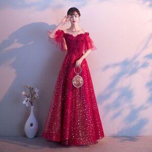 Ferim Elbow-Sleeve Glitter Mesh A-Line Evening Gown