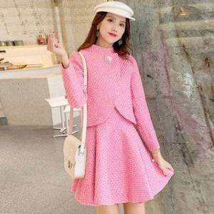 CHICHA Set: Long-Sleeve Embellished Tweed Top + A-Line Mini Skirt