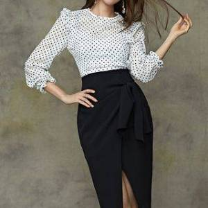 Kevina Set: 3/4-Sleeve Ruffled Dotted Blouse + Slit Pencil Skirt