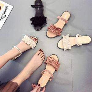 Weiya Frill Trim Slide Sandals