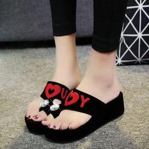 YIVIS Rhinestone Letter Platform Slide Sandals