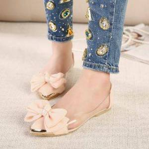Niuna Pointy Bow Accent Clear Panel Flats