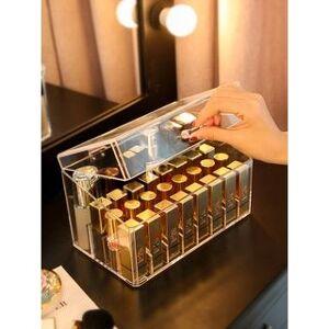 Alfheim Plastic Lipstick / Makeup Storage Box (S) 24 Grids - Heighten - Transparent - L