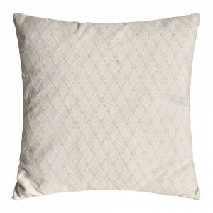 À la - Daisy Embroidered Pillow with Fringe - Cream