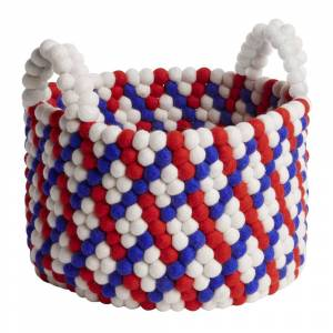 HAY - Bead Basket with Handles - Red Basket Weave