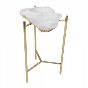 Luxe - Agate Slab Side Table - White
