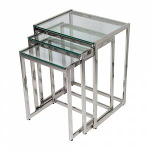 Luxe - Glass Top Nesting Side Tables - Set of 3