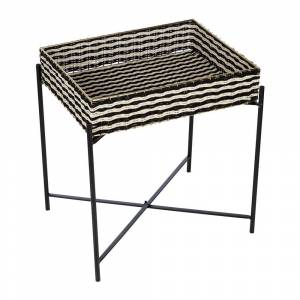 Global Explorer - Black & White Woven Side Table