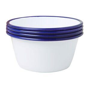 Falcon - Set of 4 Bowls - White with Blue Rim