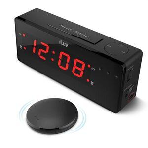 iLuv TimeShaker Boom Vibrating Alarm Clock With Wireless Bed Shaker,Black,Each,TSBOOMULBK