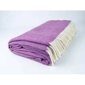 Simply Birch Purple and White Lambswool Throw Blanket