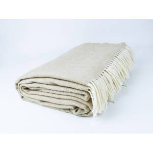 Simply Birch Beige Cream and White Lambswool Throw Blanket