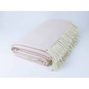 Simply Birch Baby Pink and White Lambswool Throw Blanket