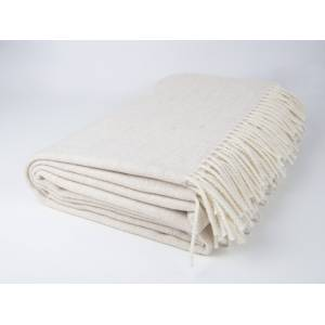 Simply Birch Cream Beige and White Lambswool Throw Blanket