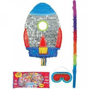 PARTY CITY Pull String Blast Off Rocket Pinata with Candy Birthday Party Supplies