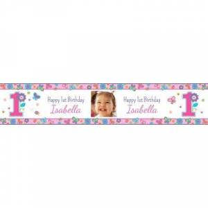 PARTY CITY Custom Sweet Birthday Girl Photo Table Runner Party Supplies