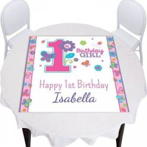 PARTY CITY Custom Sweet Birthday Girl Square Table Topper Party Supplies