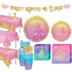 PARTY CITY Disney Princess 1st Birthday Tableware Kit for 24 Guests Party Supplies