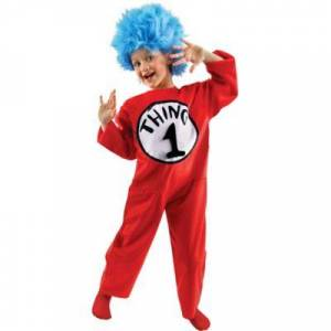 ELOPE INC kids Unisex Child Thing 1 & 2 Costume Deluxe - The Cat in the Hat Size M Halloween Multi-Colored