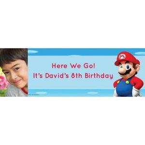 PARTY CITY Custom Super Mario Photo Horizontal Banner Size 24x72 Birthday Party Supplies