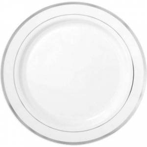 AMSCAN White Silver Trimmed Premium Plastic Buffet Plates 10ct