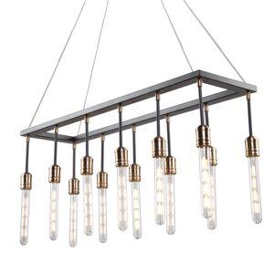 """Artcraft Lighting AC11092 Willow 12 Light 36"""" Wide Linear Chandelier Dark Bronze / Vintage Brass Indoor Lighting Chandeliers"""