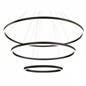 "Eurofase Lighting 31474 Spunto 3 Light 61"" Wide LED Ring Chandelier - 3 Tiers Matte Black Indoor Lighting Chandeliers"