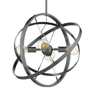 """Golden Lighting 7936-4 SOLID Atom 4 Light 22"""" Wide Chandelier Brushed Steel Indoor Lighting Chandeliers"""