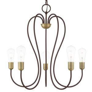 "Livex Lighting 41365 Lucerne 5 Light 24"" Wide Abstract Chandelier Bronze with Antique Brass Accents Indoor Lighting Chandeliers"