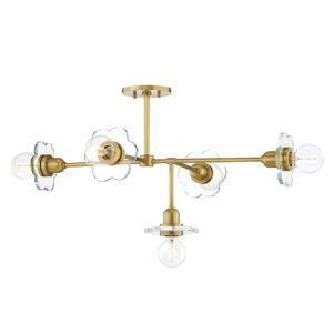 "Mitzi H357805 Alexa 5 Light 37"" Wide Floral Linear Chandelier Aged Brass Indoor Lighting Chandeliers  - Aged Brass"