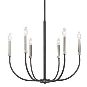 """Z-Lite 479-6 Haylie 6 Light 26"""" Wide Taper Candle Chandelier Matte Black / Brushed Nickel Indoor Lighting Chandeliers"""