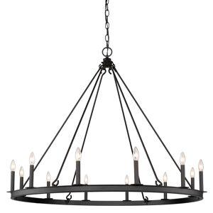 """Z-Lite 482R-12 Barclay 12 Light 48"""" Wide Taper Candle Chandelier Matte Black Indoor Lighting Chandeliers"""