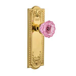 Nostalgic Warehouse Meadows Passage Door Knobset with Pink Crystal Door Knob - Unlacquered Brass - 720683