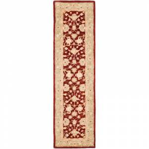 Safavieh AN522-28 Anatolia 2' x 8' Runner Wool Hand Tufted Traditional Area Rug Red / Moss Home Decor Rugs Runners  - Red,Moss