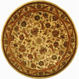 Safavieh AT52-8R Antiquity 8' Round Wool Hand Tufted Traditional Area Rug Gold Home Decor Rugs Area Rugs